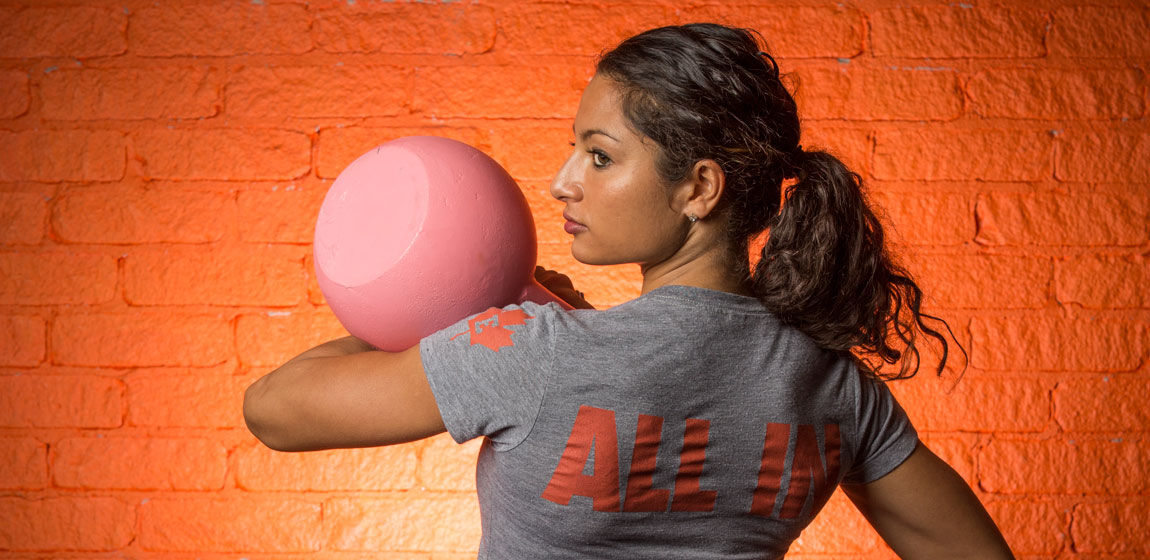 Dr Michelle Basu Roy balances a ball on her arm