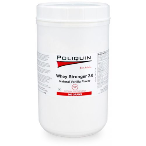 A bottle of poliquin whey stronger